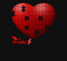 Puzzle Heart in pieces, missing some pieces to complete Women's Fitted V-Neck T-Shirt