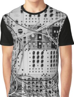 Analog Synthesizer - Modular Design - black & white Graphic T-Shirt