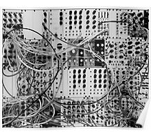 Analog Synthesizer - Modular Design - black & white Poster