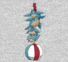 Blue Birds Balancing Boiling Beverages on a Beach Ball One Piece - Long Sleeve
