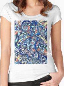 Drawing floral abstract background Women's Fitted Scoop T-Shirt