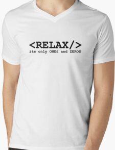 programming computer relax ones zeros Mens V-Neck T-Shirt