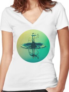 Water Drop Women's Fitted V-Neck T-Shirt
