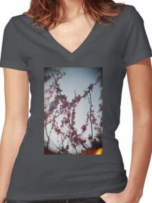 Pink Blossom Women's Fitted V-Neck T-Shirt
