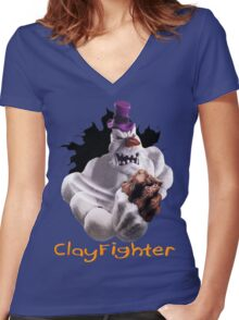 ClayFighter Women's Fitted V-Neck T-Shirt