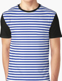 Navy and White French Stripes Graphic T-Shirt