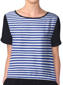 Navy and White French Stripes Chiffon Top