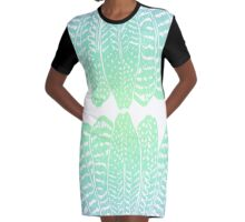 Tribal Feathers Seafoam Graphic T-Shirt Dress