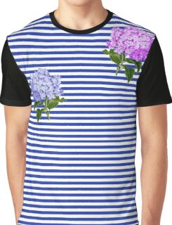 Blue and White Stripes with Hydrangea  Graphic T-Shirt
