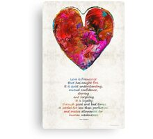Red Heart Art - Love Is - By Sharon Cummings Canvas Print