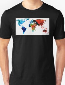 Map of The World 3 -Colorful Abstract Art Unisex T-Shirt