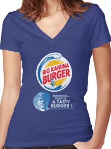 Pulp Fiction - Big Kahuna Burger Women's Fitted V-Neck T-Shirt