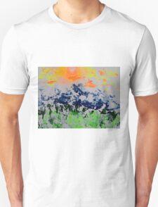 Sun over snow clad mountains Unisex T-Shirt