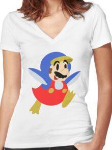 Little Penguin Mario Women's Fitted V-Neck T-Shirt