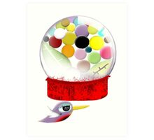 Too sweet candy bubble gum bird old style  Art Print