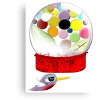 Too sweet candy bubble gum bird old style  Canvas Print