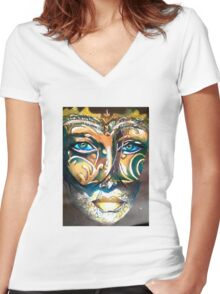 Look behind the mask Women's Fitted V-Neck T-Shirt