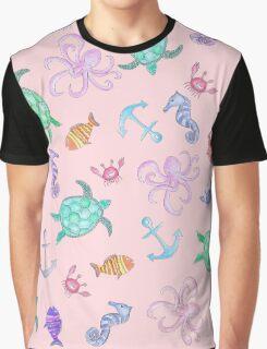 Cute Watercolor Nautical Sea Beach Pattern Graphic T-Shirt