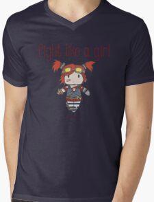 Fight Like a Girl | Robot Maker Mens V-Neck T-Shirt