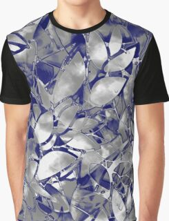Grunge Art Silver Floral Abstract Graphic T-Shirt