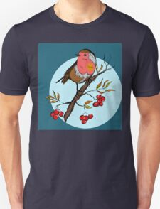 Robin bird illustration print Unisex T-Shirt