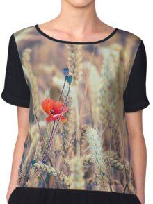 Wild Poppy in the Wheat Field Women's Chiffon Top