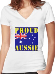 Proud Aussie Women's Fitted V-Neck T-Shirt