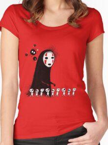 Studio Ghibli - The Spirits & Soot Sprites - Kodama - No Face - Susuwatari  Women's Fitted Scoop T-Shirt