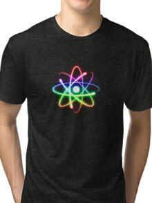 Colorful Glowing Atomic Symbol  Tri-blend T-Shirt