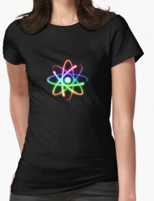 Colorful Glowing Atomic Symbol  Womens Fitted T-Shirt