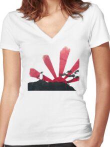 Samurai Penguin Women's Fitted V-Neck T-Shirt