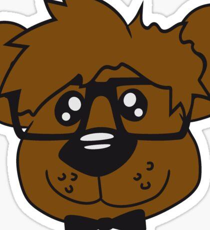 head, face, nerd geek smart hornbrille clever fly cool young comic cartoon teddy bear Sticker