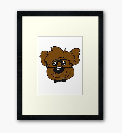 head, face, nerd geek smart hornbrille clever fly cool young comic cartoon teddy bear Framed Print