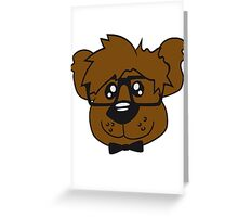 head, face, nerd geek smart hornbrille clever fly cool young comic cartoon teddy bear Greeting Card
