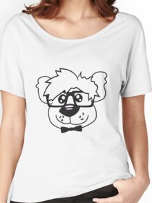 head, face, nerd geek smart hornbrille clever fly cool young comic cartoon teddy bear Women's Relaxed Fit T-Shirt