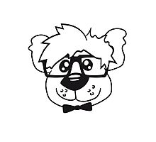 head, face, nerd geek smart hornbrille clever fly cool young comic cartoon teddy bear Photographic Print