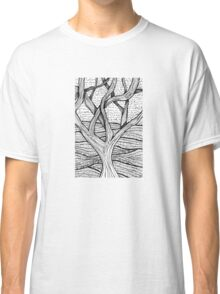 Tree Pen and Ink Textured with Text Classic T-Shirt