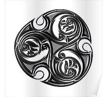 Triskele Shield-Silver Poster