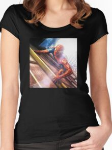 Sipderman superhero climbing the wall Women's Fitted Scoop T-Shirt