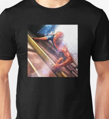 Sipderman superhero climbing the wall Unisex T-Shirt