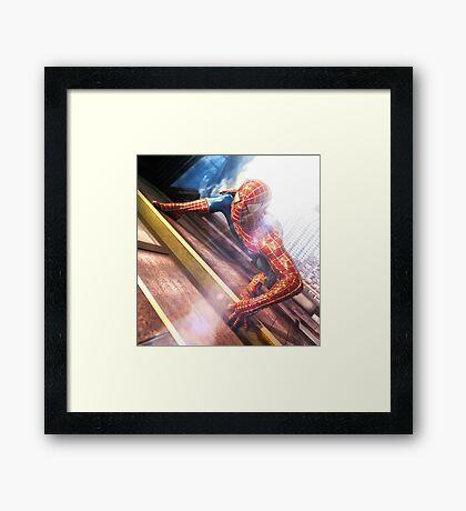 Sipderman superhero climbing the wall Framed Print