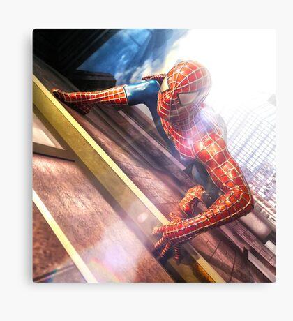 Sipderman superhero climbing the wall Canvas Print