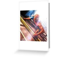 Sipderman superhero climbing the wall Greeting Card
