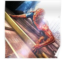 Sipderman superhero climbing the wall Poster
