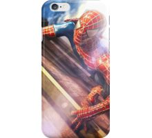 Sipderman superhero climbing the wall iPhone Case/Skin