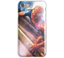Sipderman superhero climbing the wall iPhone Case/Skin