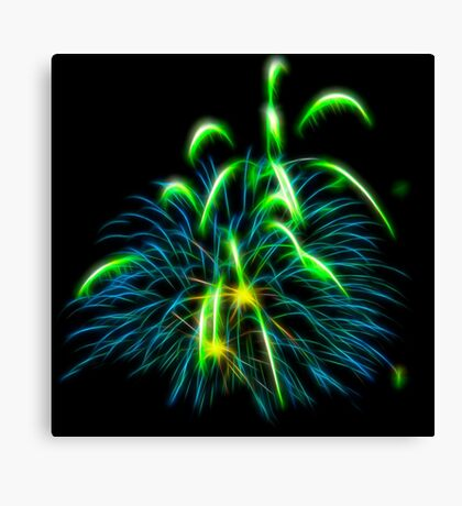 Abstract Green Fireworks  Canvas Print