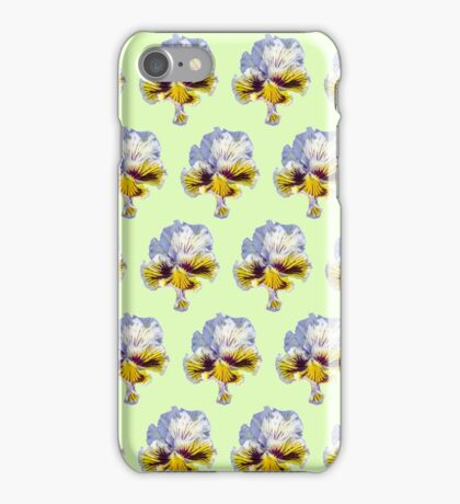 blue and yellow pansy pattern on a light green background iPhone Case/Skin