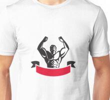 Body Builder Flexing Muscles Banner Retro Unisex T-Shirt