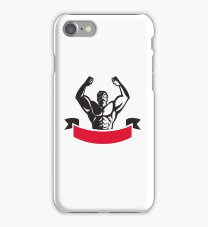 Body Builder Flexing Muscles Banner Retro iPhone Case/Skin